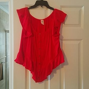Free People red off the shoulder button down top
